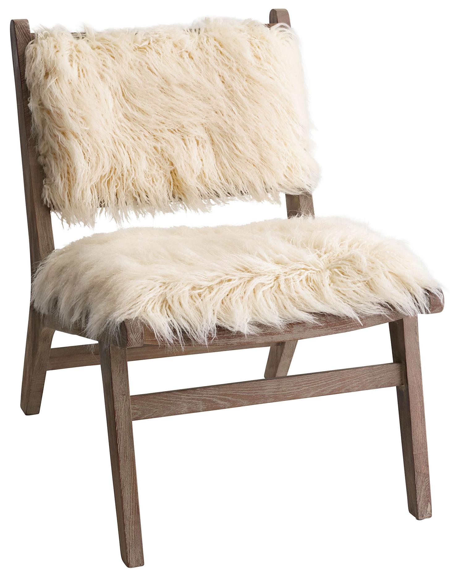 Cost Plus World Market Ivory Faux Flokati Gunnar Chair