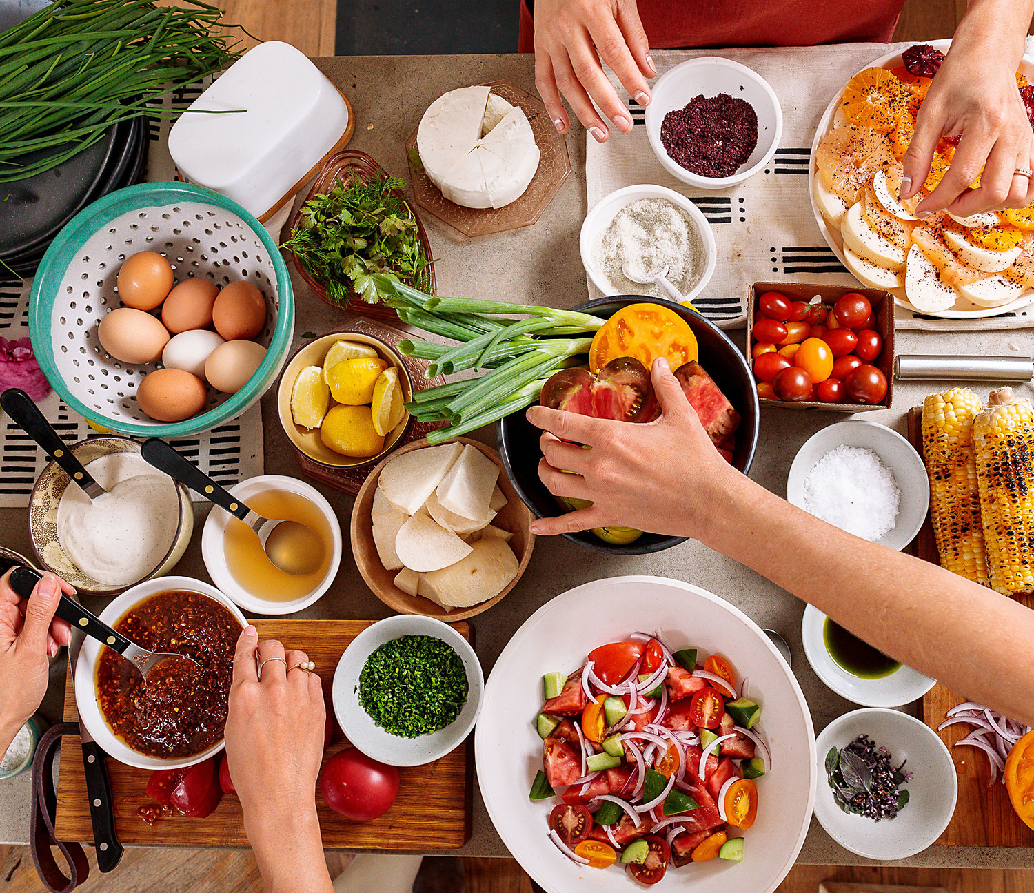 Ariel view of food on table