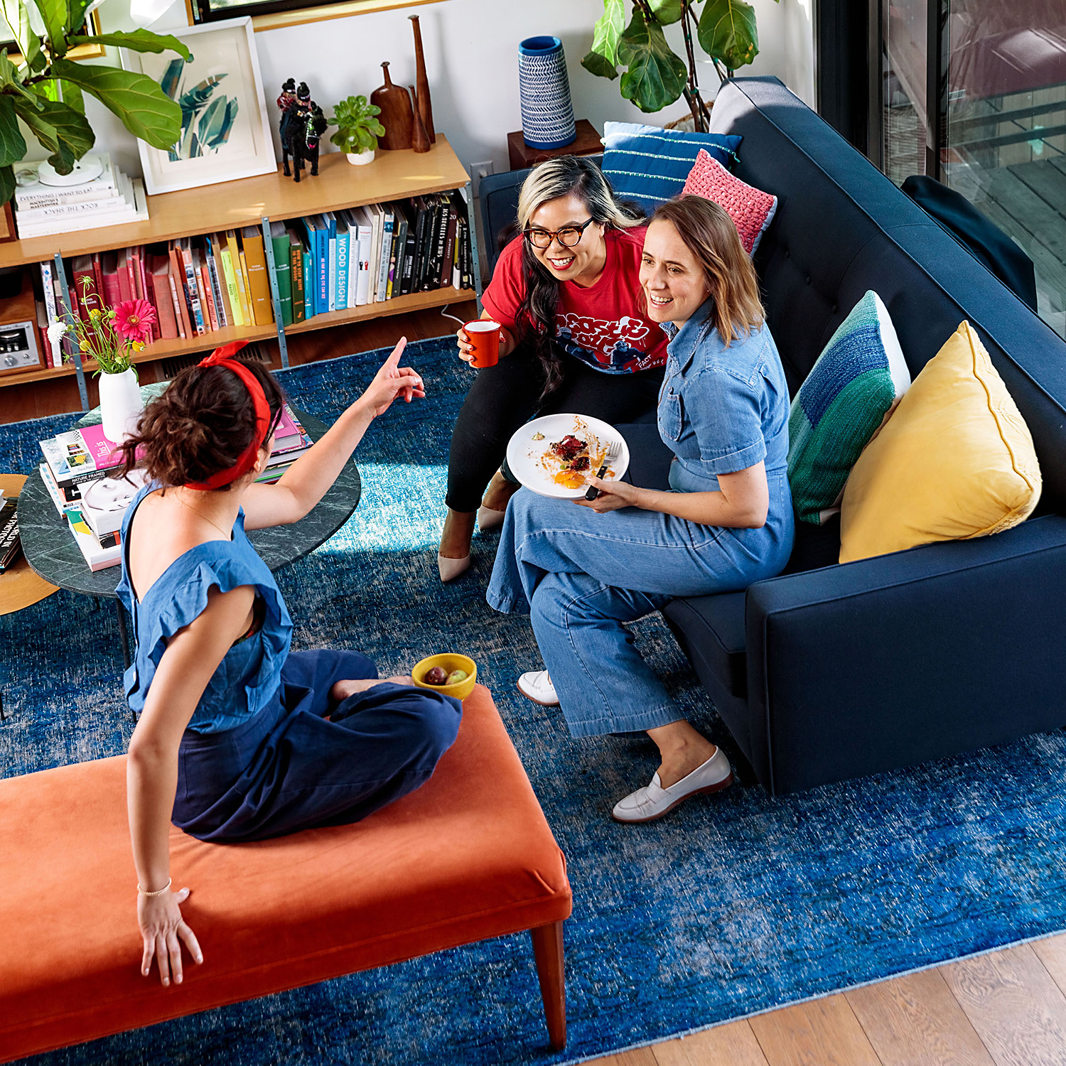 Ellen Bennett and friends in colorful living room