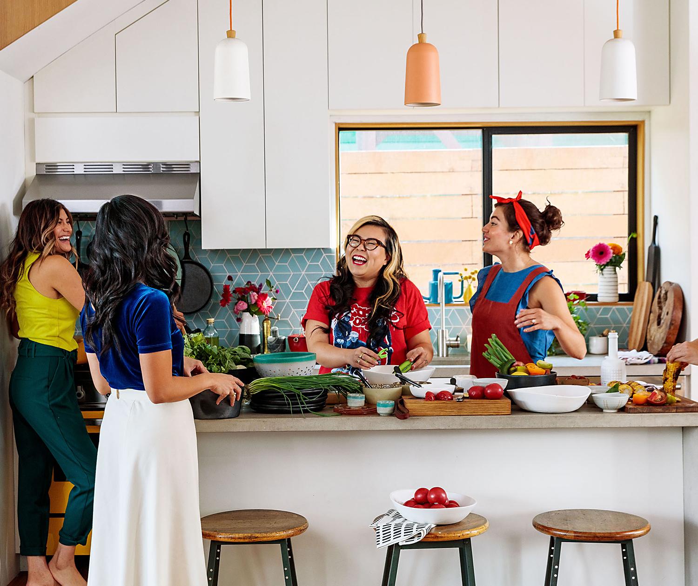 Ellen Bennett and friends in kitchen