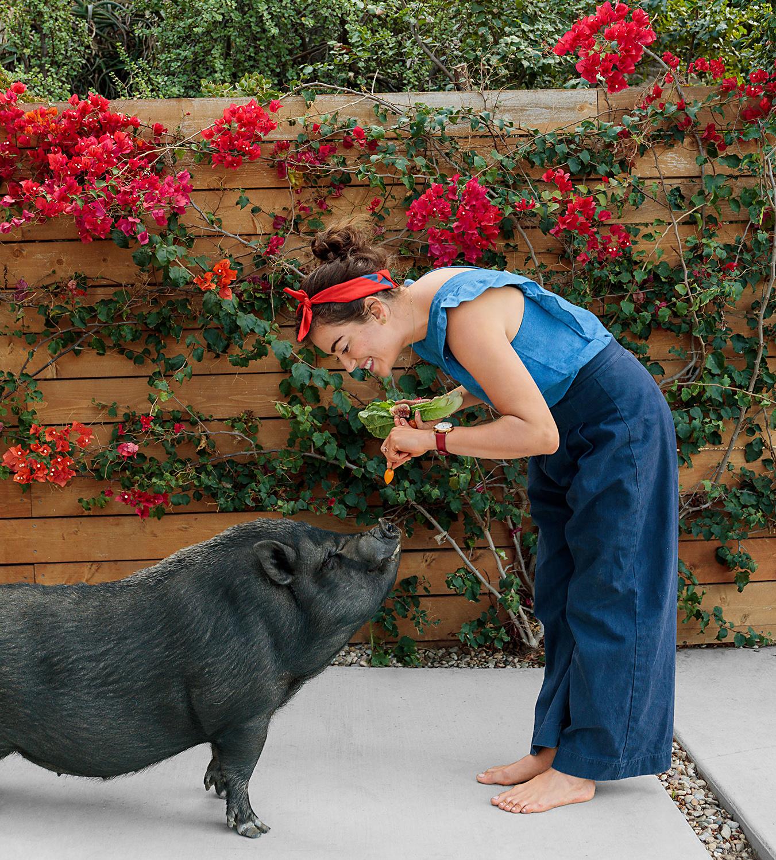 Ellen Bennett feeding pet pig outdoors