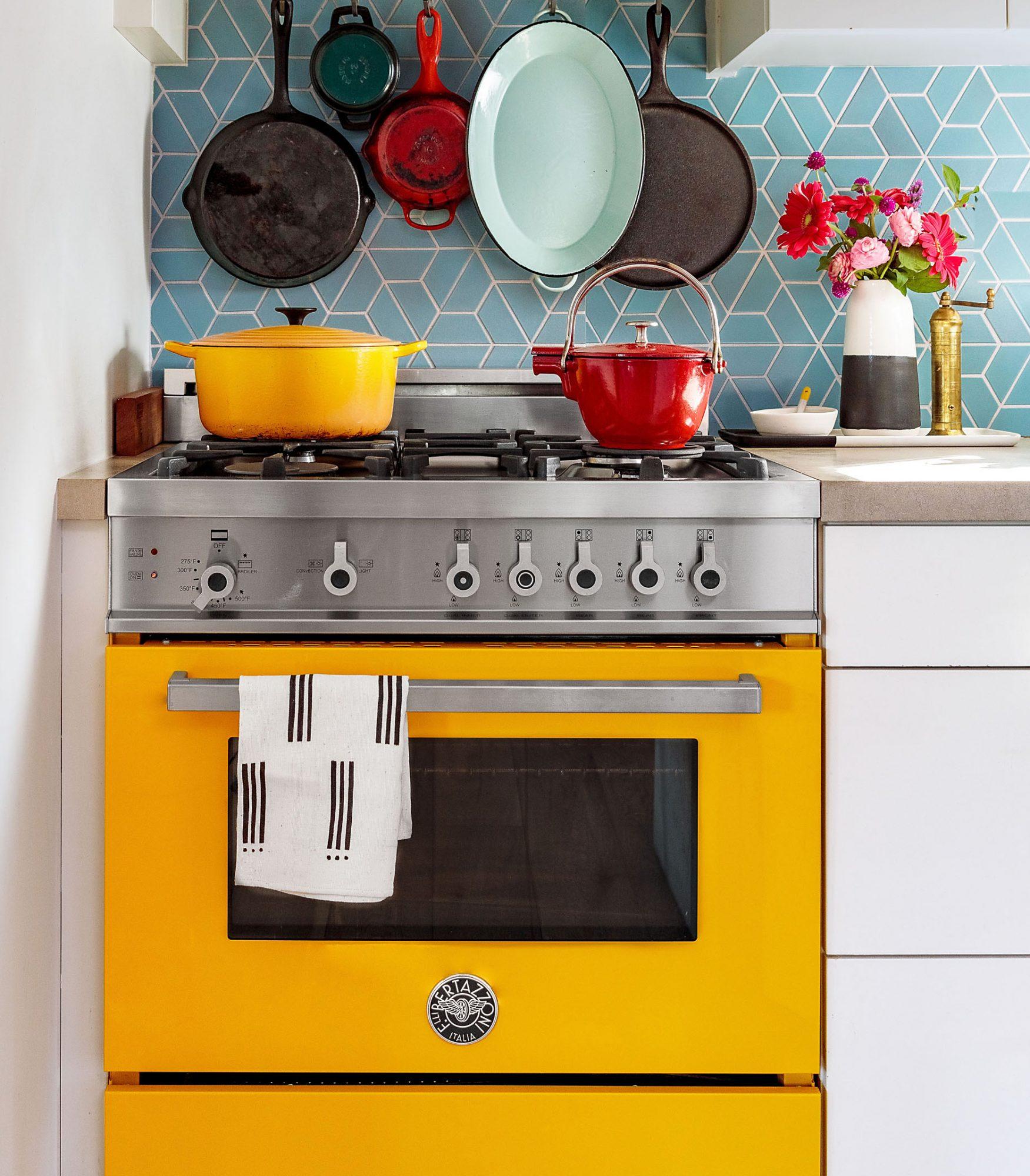 yellow Bertazzoni professional range