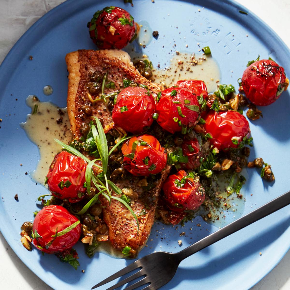 Crispy-Skin Fish with Roasted Cherry Tomato Sauce