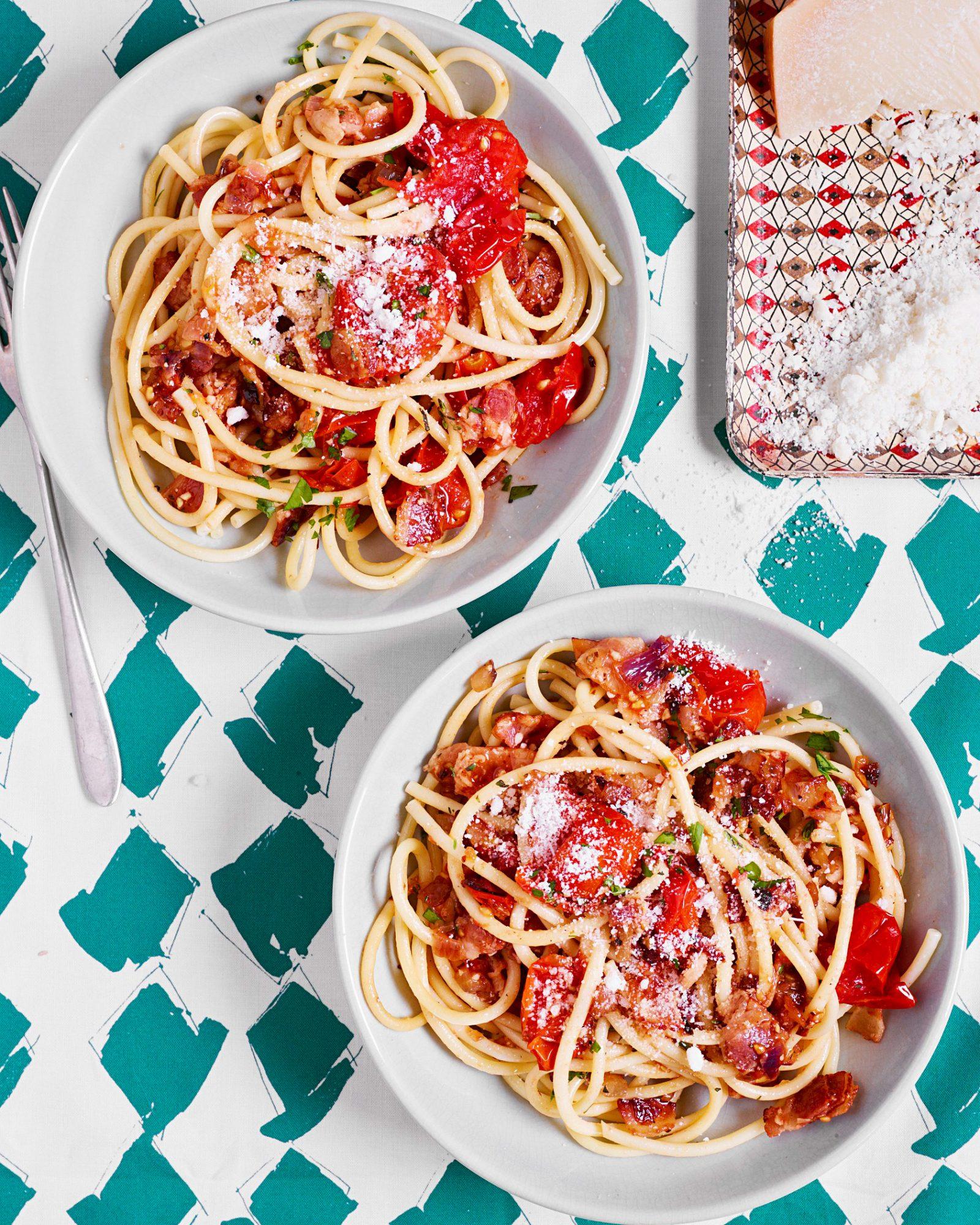Fat Spaghetti with Bacon & Cherry Tomato Sauce
