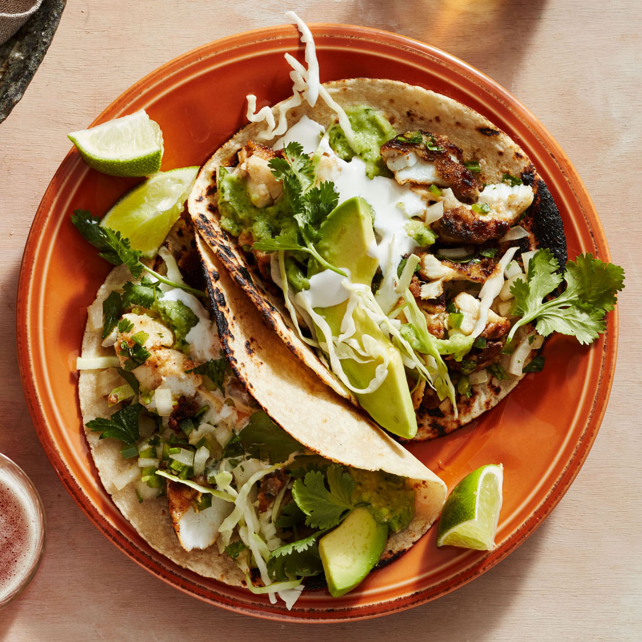 fried fish tacos with raw green salsa