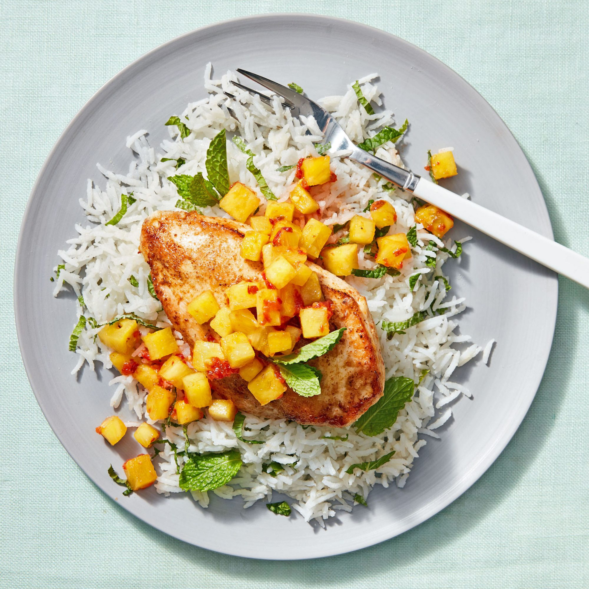 tropical chicken with mint rice
