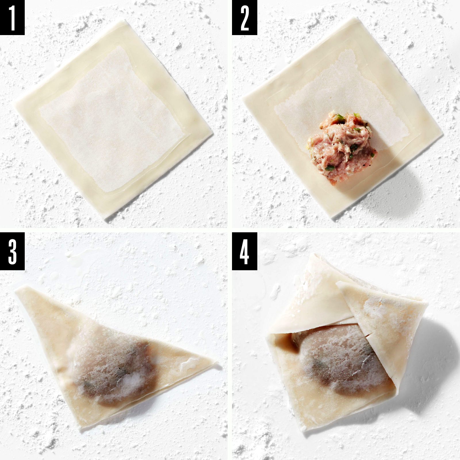 wonton folding and wrapping steps