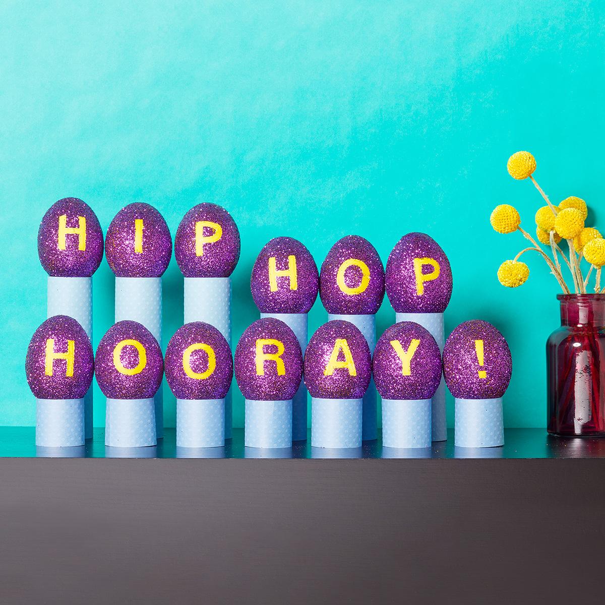 purple glitter easter eggs hip hop hooray