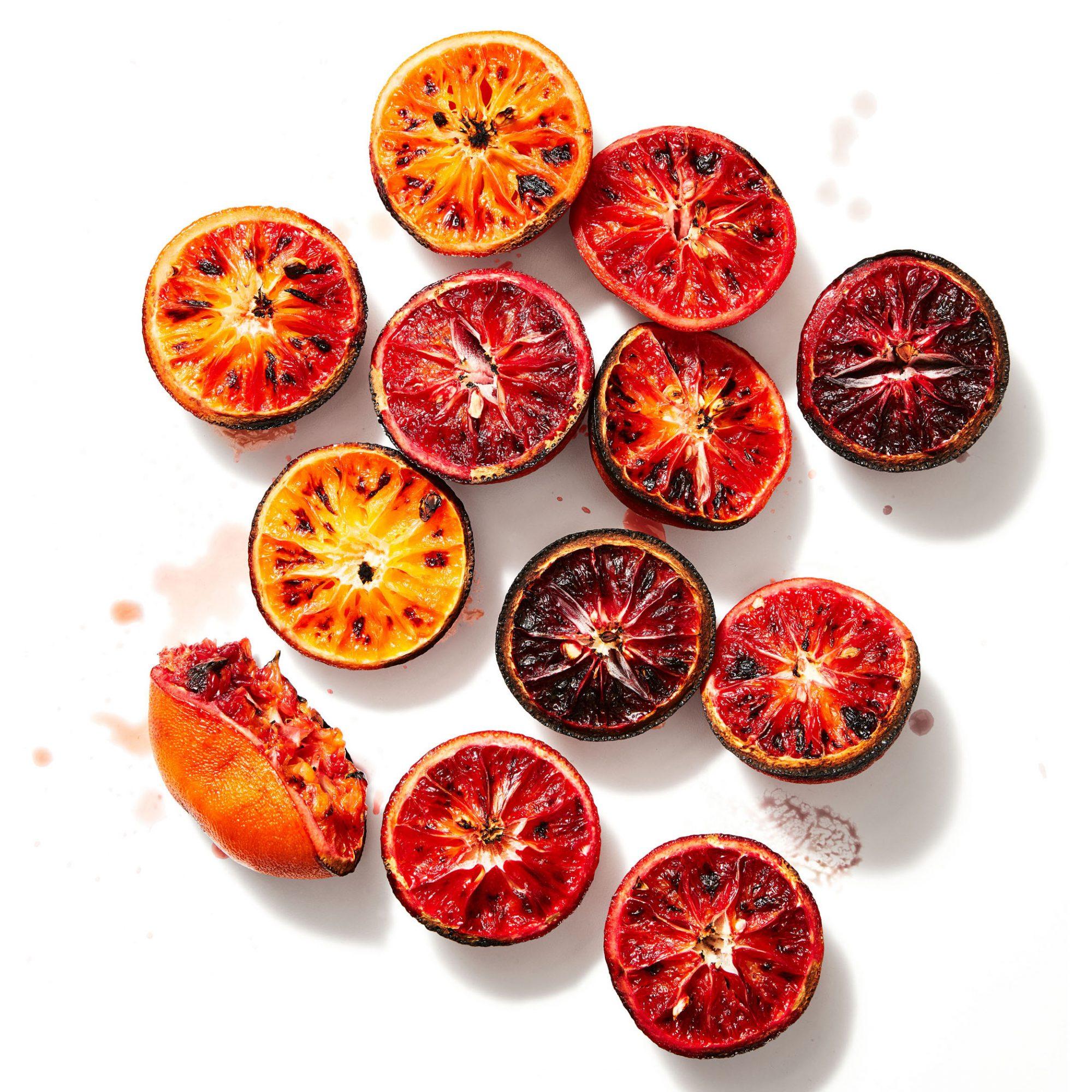 sliced grilled blood oranges