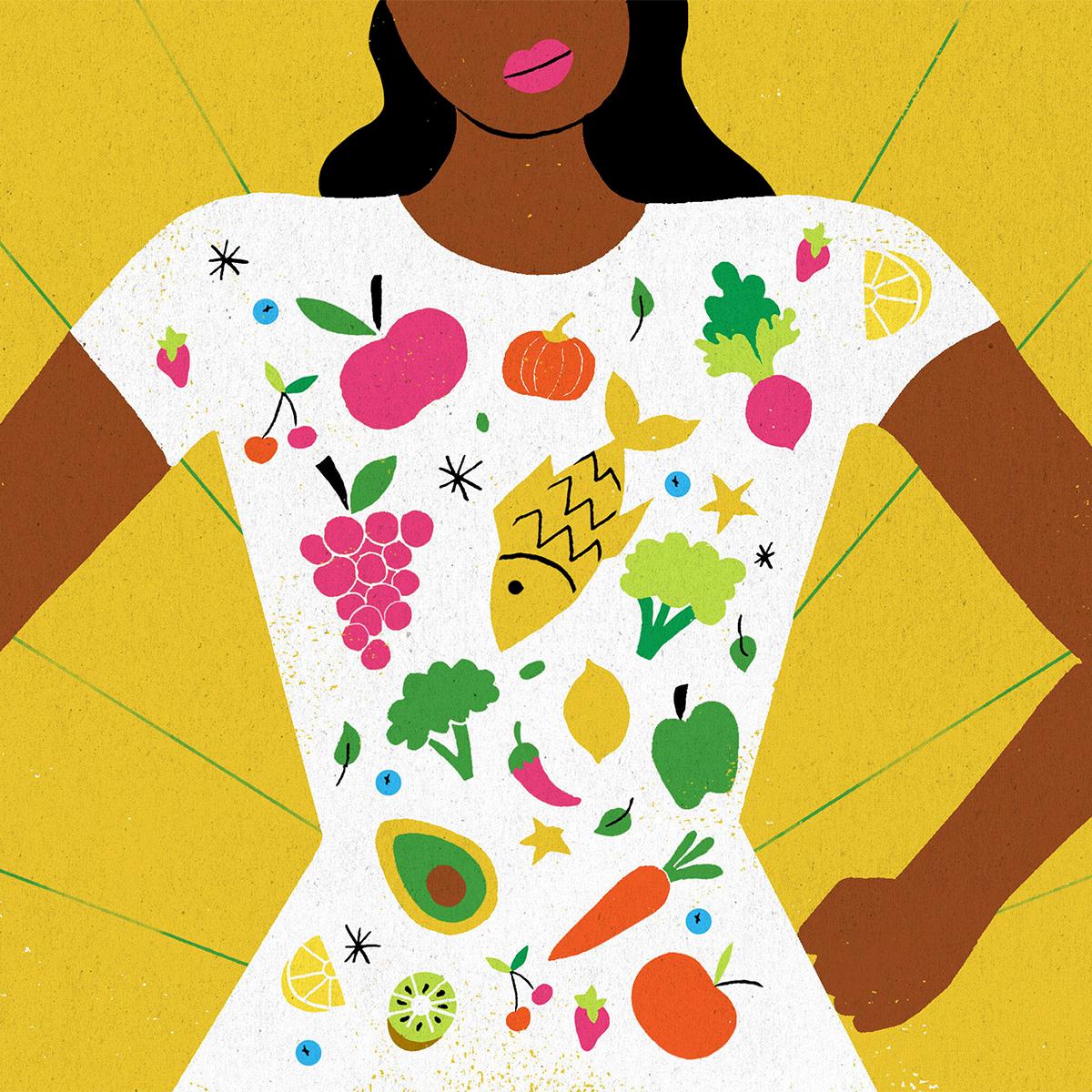 gut health woman illustration