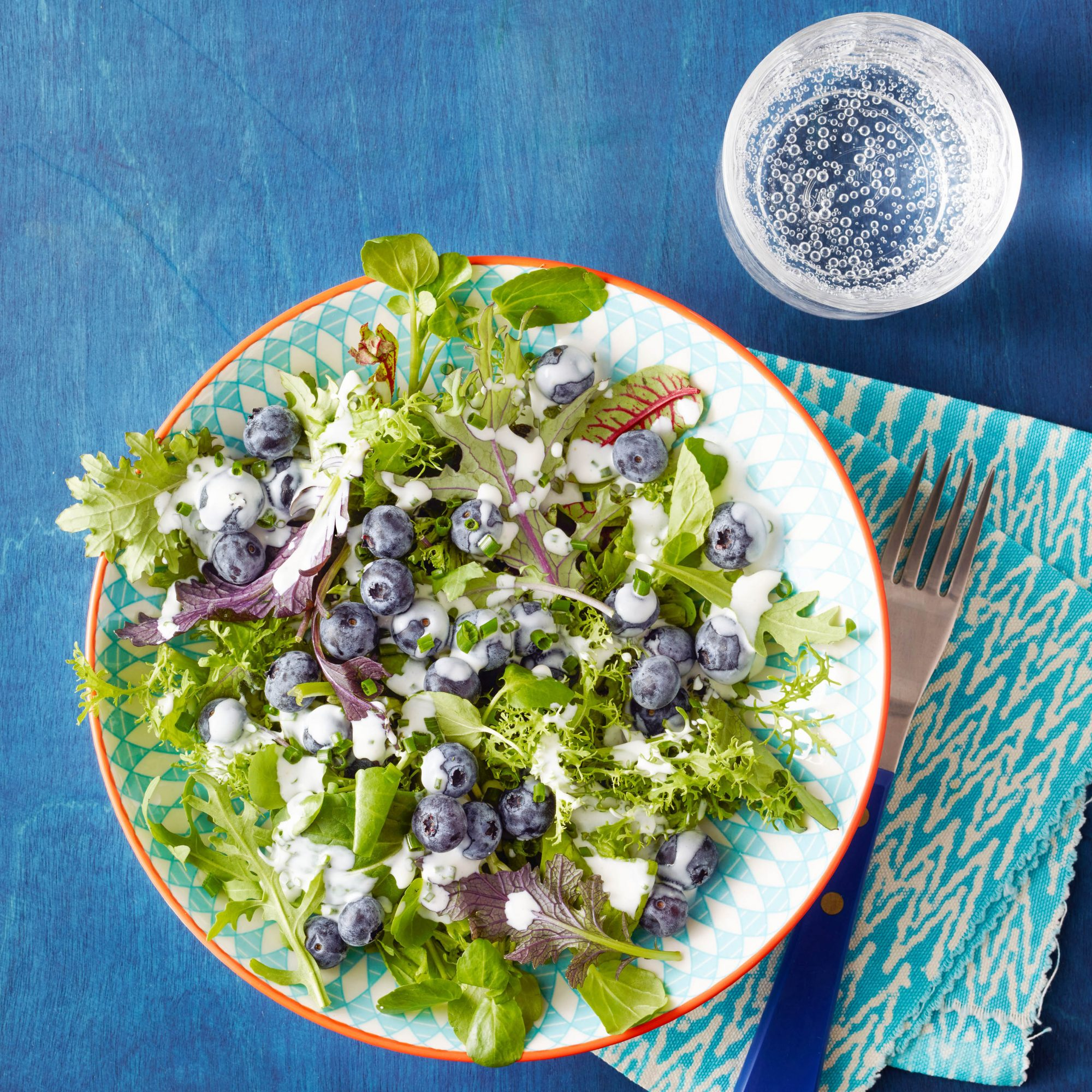 Mixed Greens with Blueberries & Buttermilk Goat Cheese Dressing