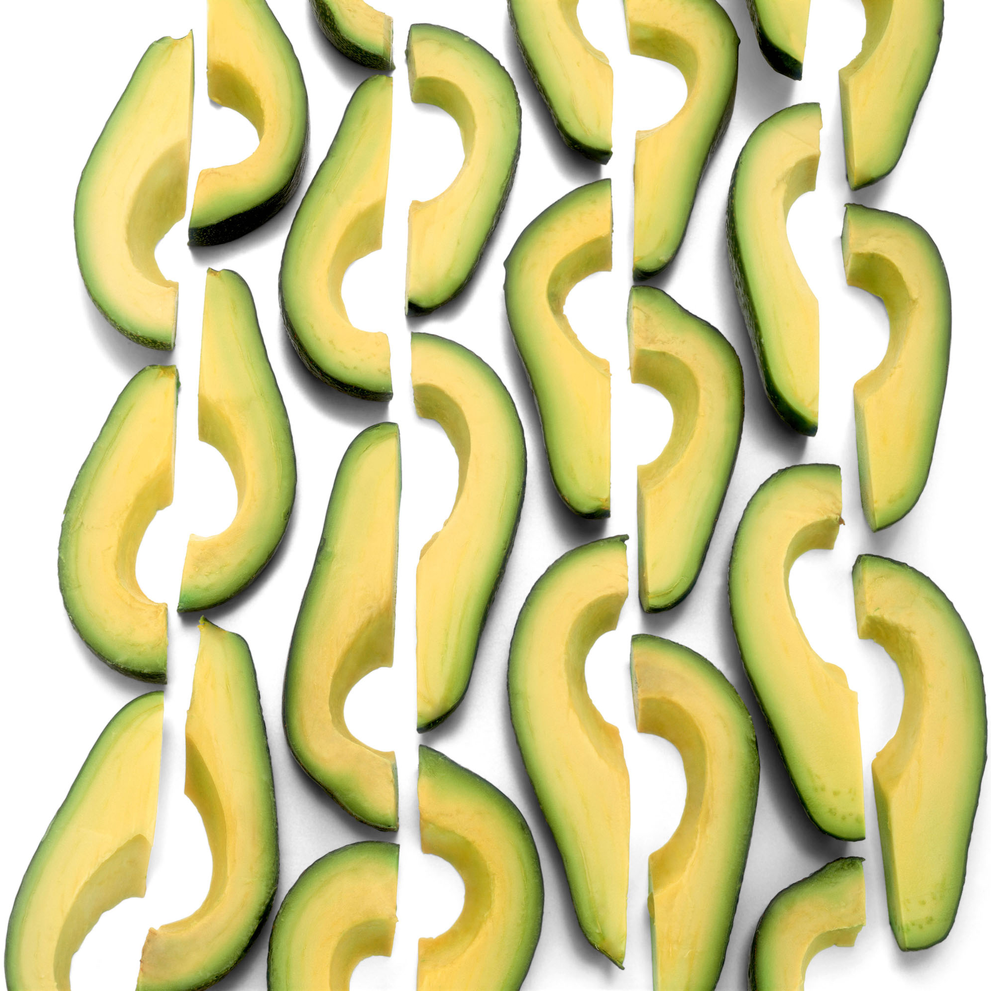 sliced avocados creating a pattern