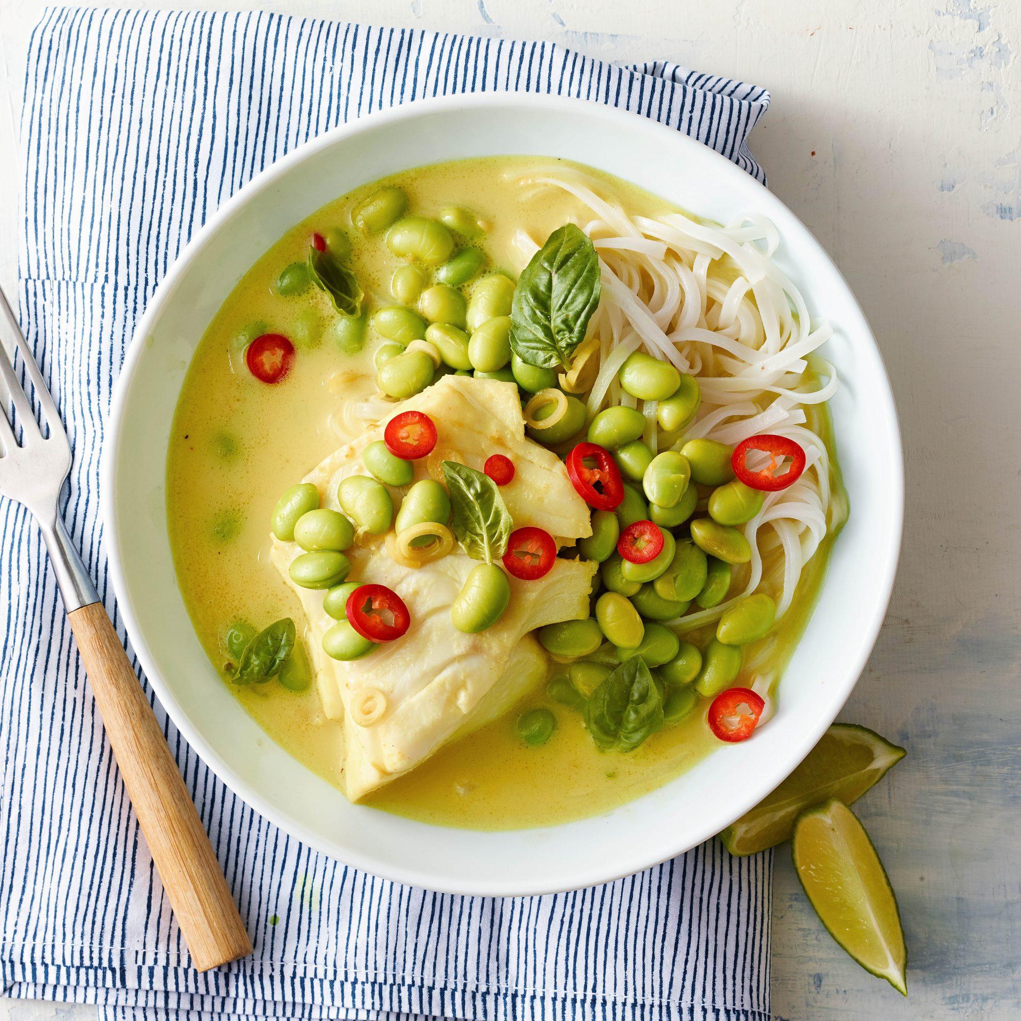 coconut cod rice noodles
