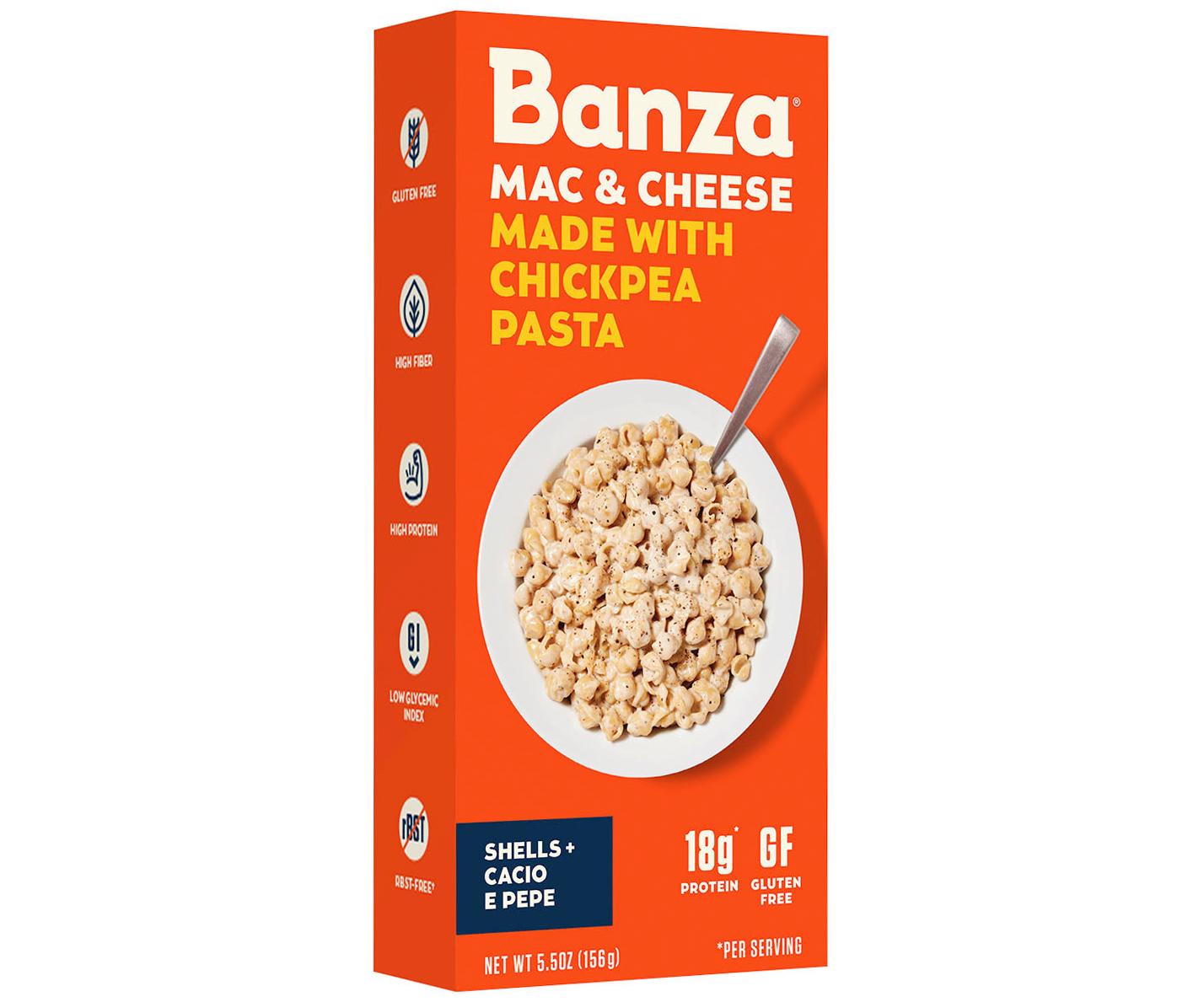 banza mac and cheese shells and cacio e pepe