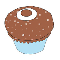 illustration of chocolate cupcake with sprinkles