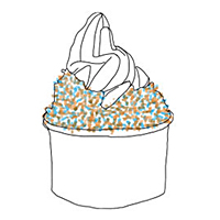 dessert with sprinkles and whip cream illustration