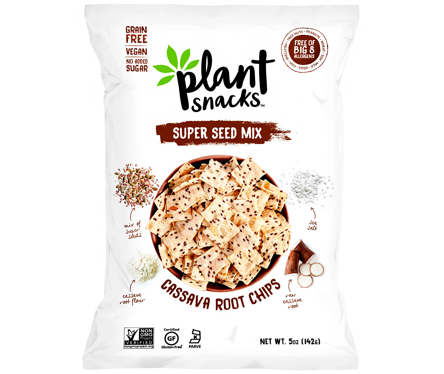 plant snacks super seed mix cassava root chips
