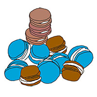 illustration of assortment of whoopie pies