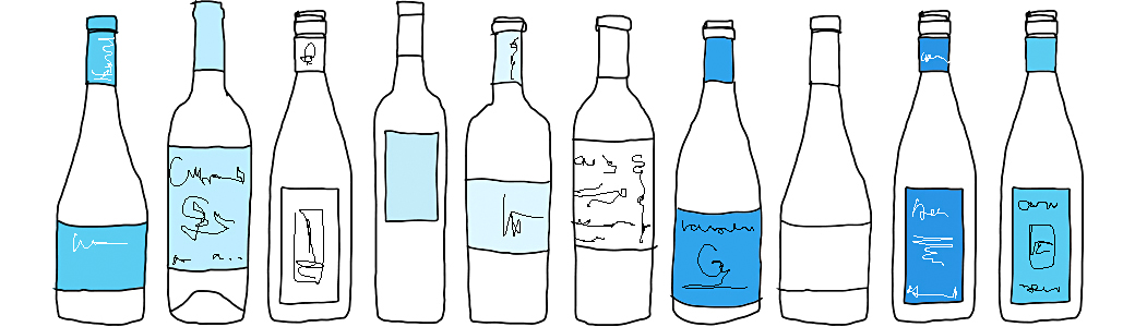 illustration of row of wine and spirits