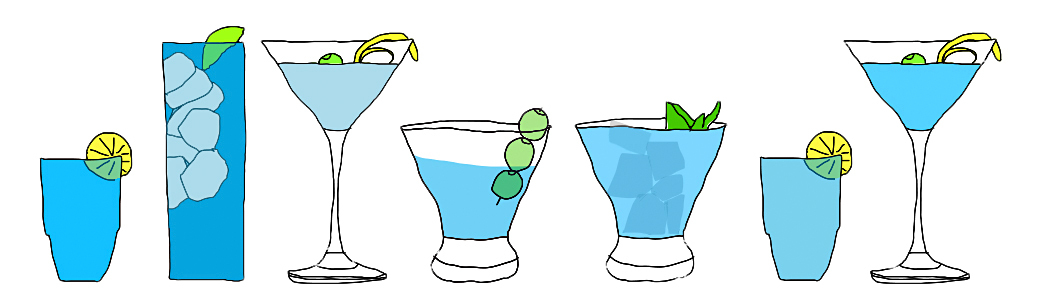 Illustration row of coctails