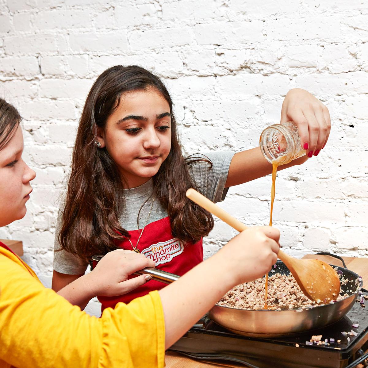 kids cooking pork