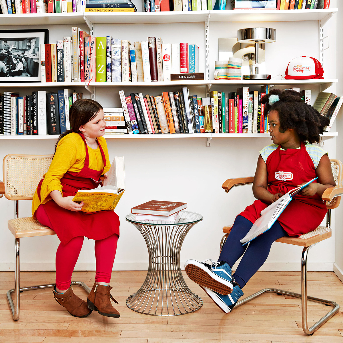 kids in cookbook library