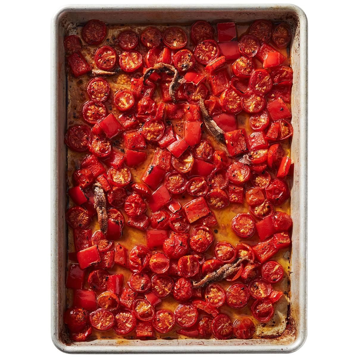 sheet pan sauce tomatoes