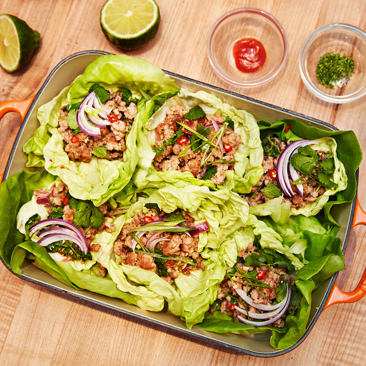 larb gai lettuce wraps