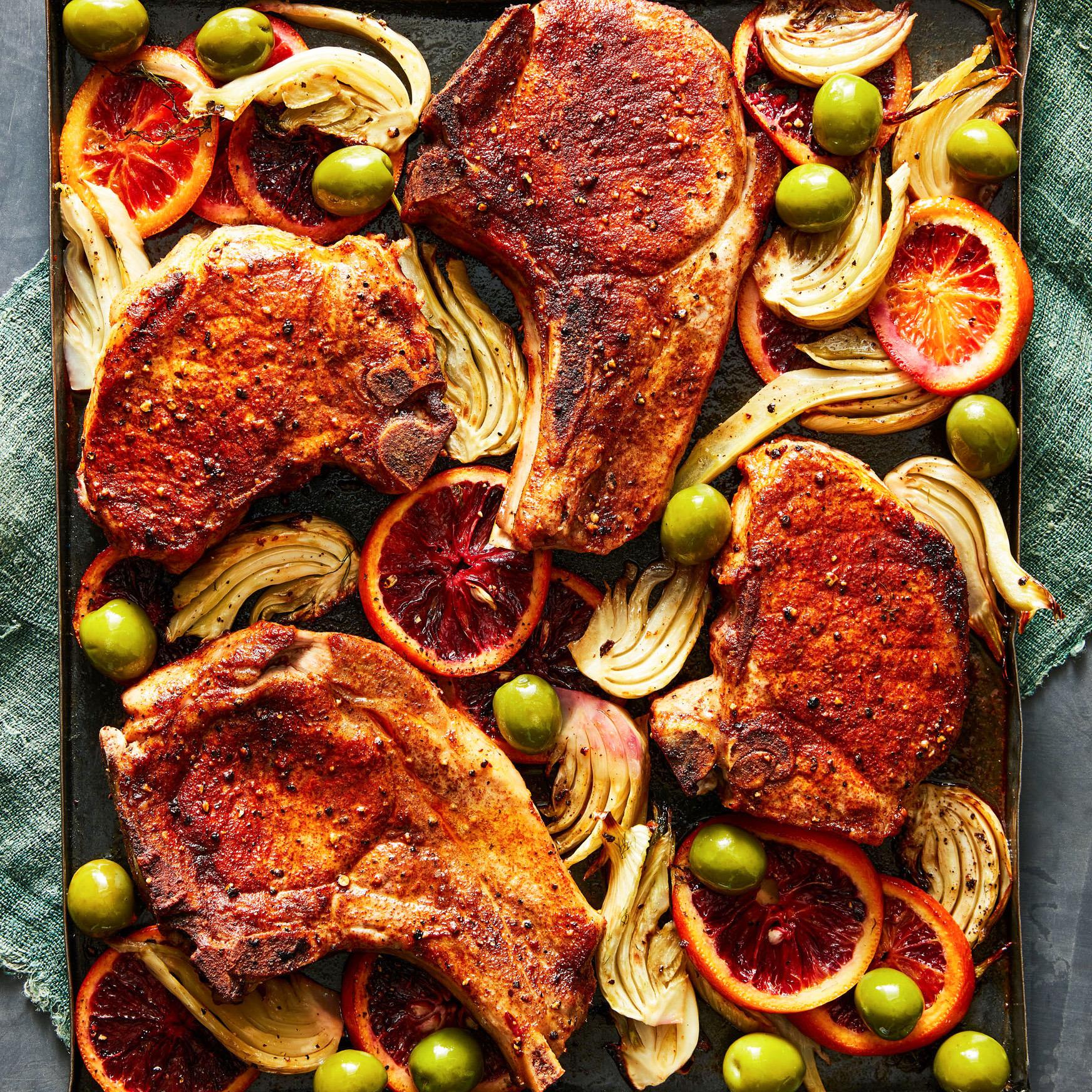 Pork Chops with Blood Oranges, Fennel & Olives