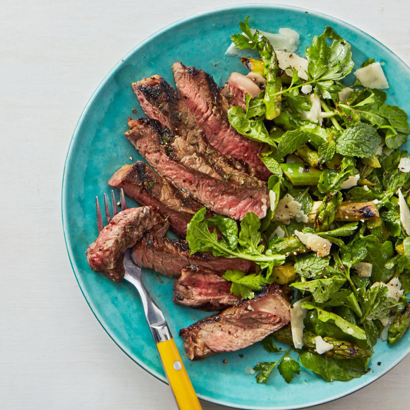 tagliata with grilled asparagus