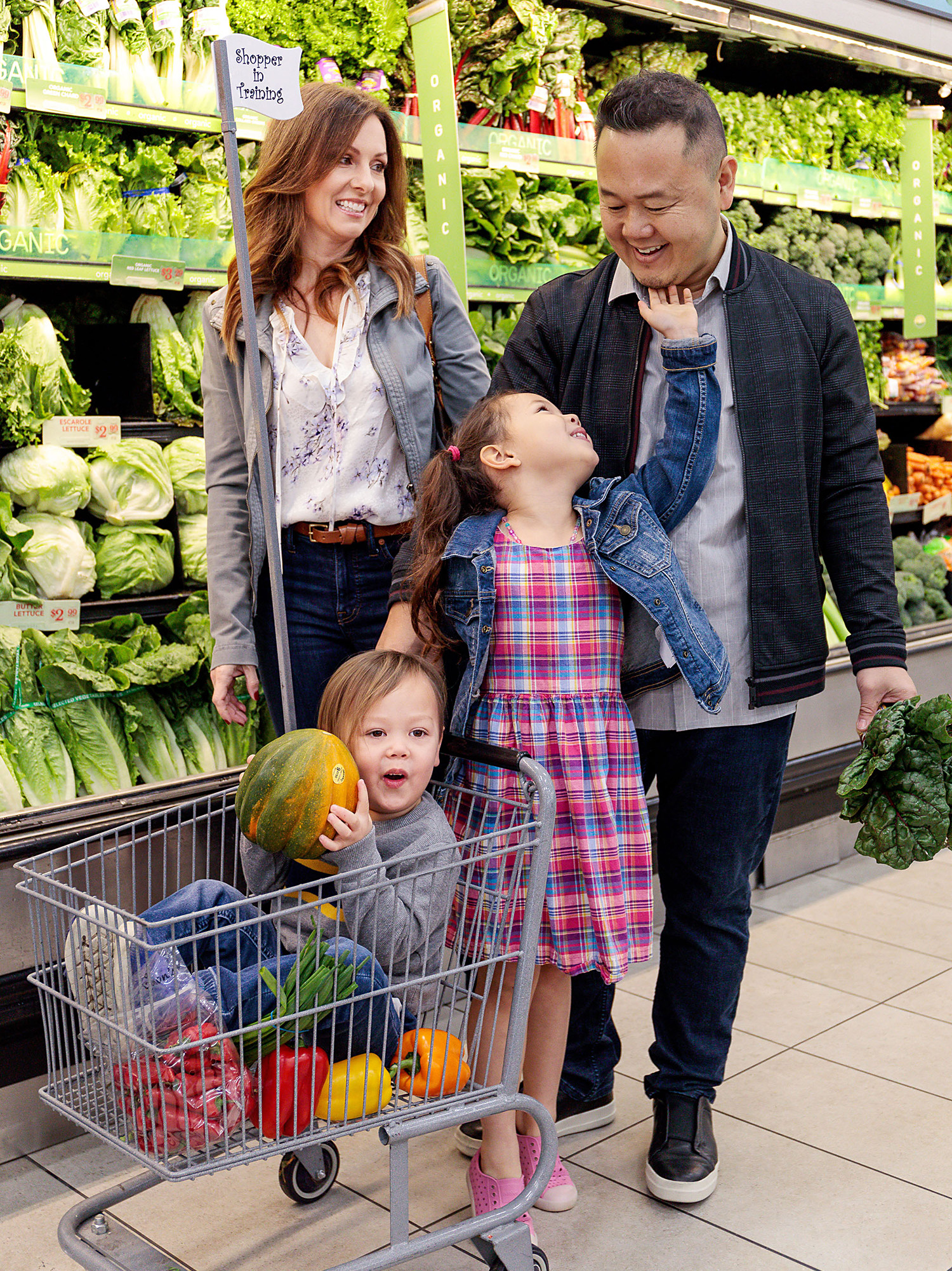 chef Jet Tila and family at grocery store