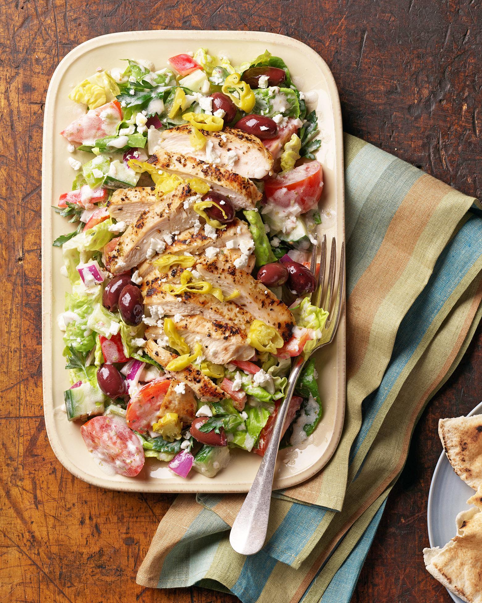 go-greek grilled-chicken salad with creamy dressing