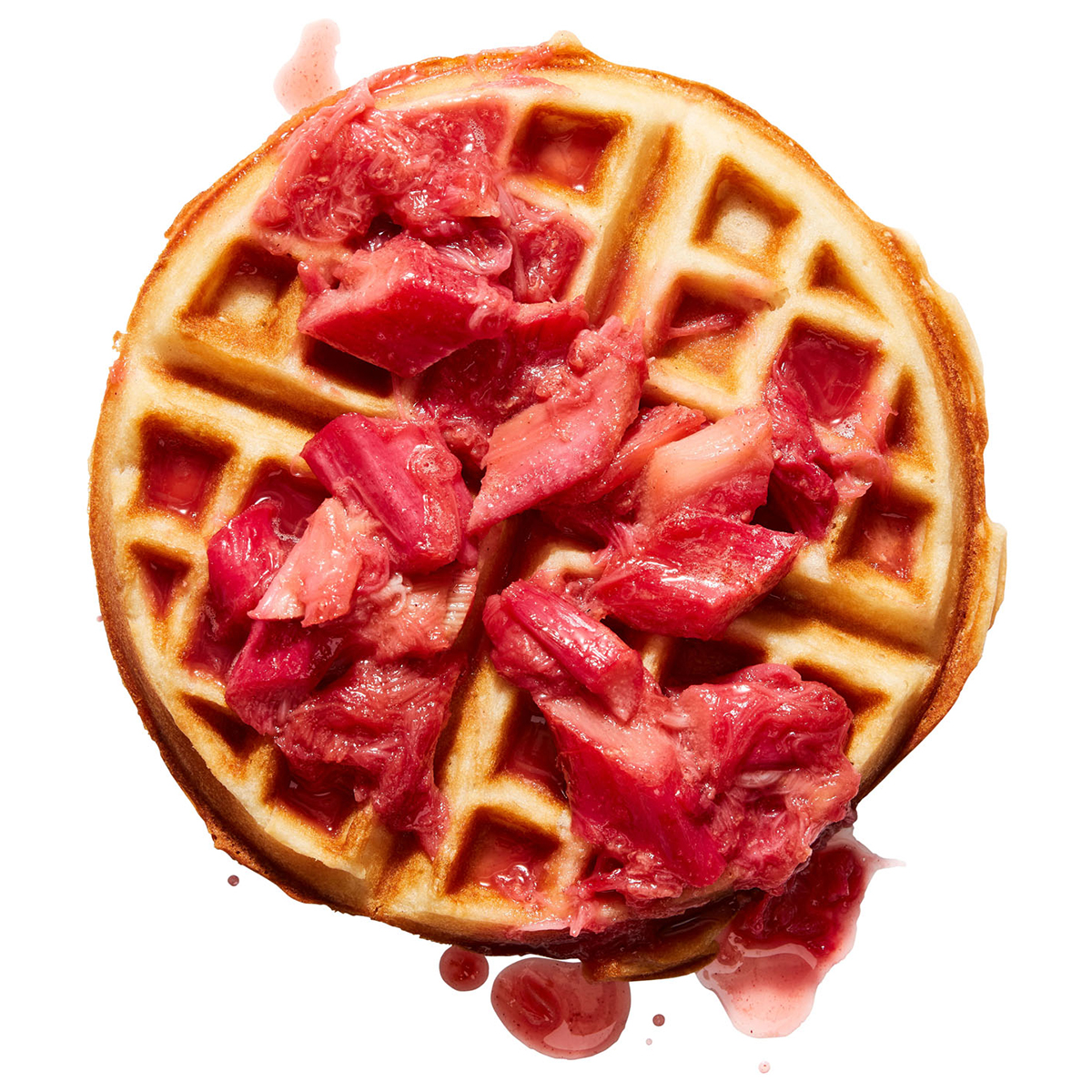 Waffles with Rhubarb & Ginger Compote