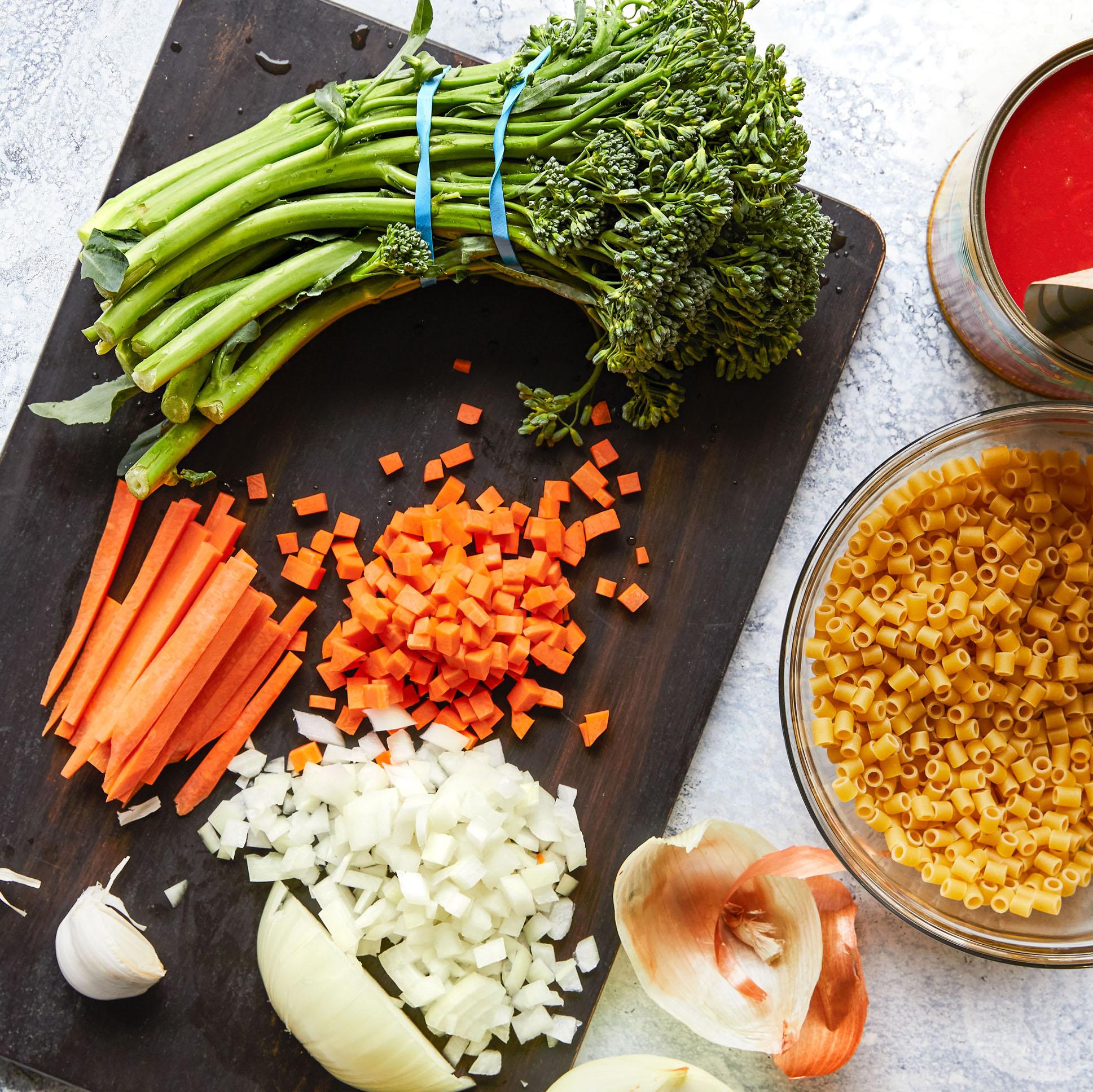 prepped vegetables and pasta for dinner