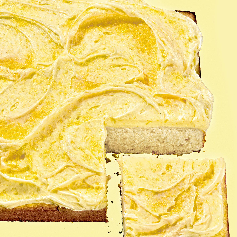 lemon sheet cake with buttercream frosting