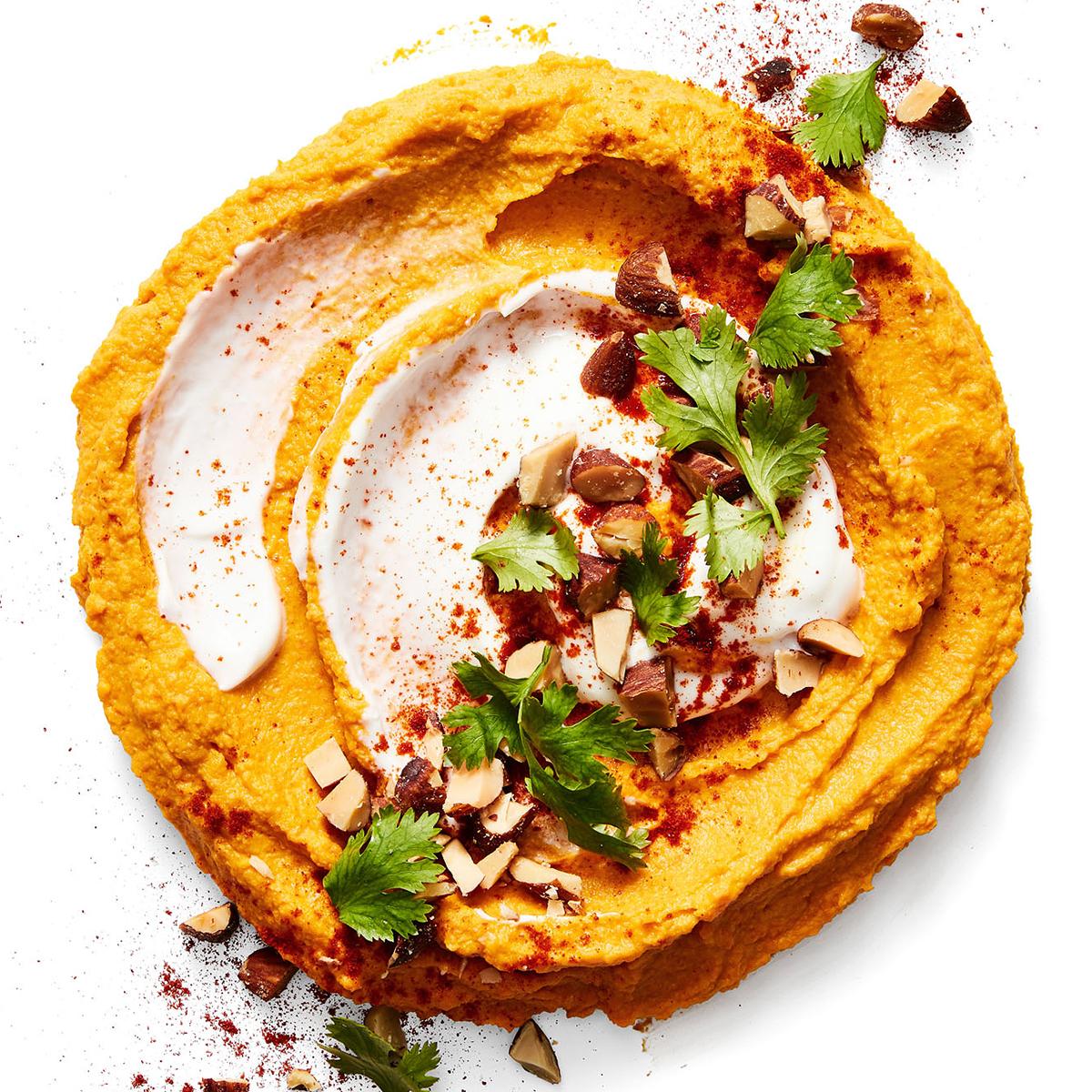 carrot cumin hummus with yogurt smoked almonds
