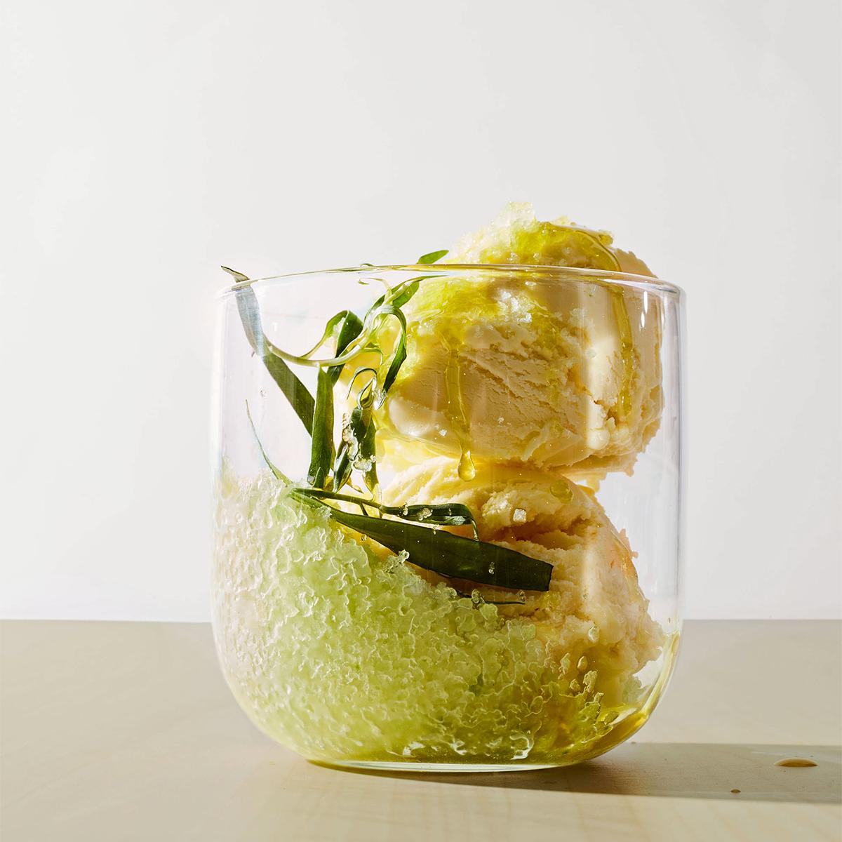 cucumber lime granita with vanilla ice cream and tarragon