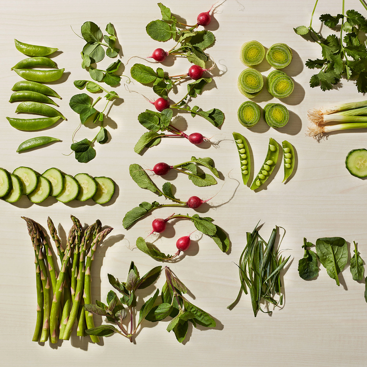 go green vegetables arranged on table