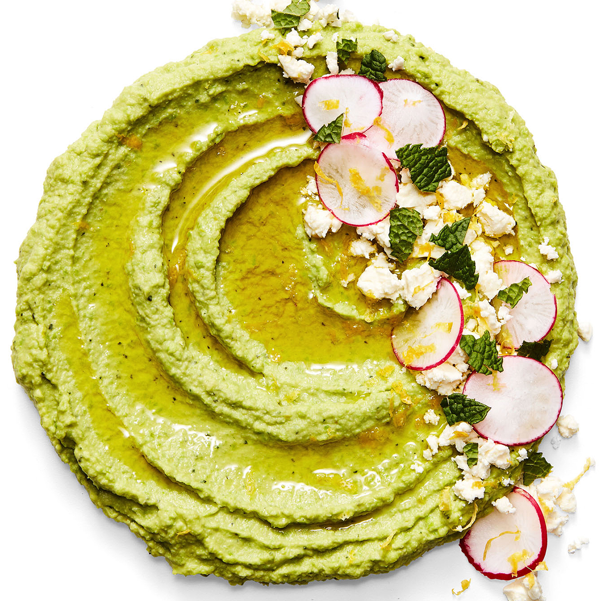 mint pea hummus with radish salad