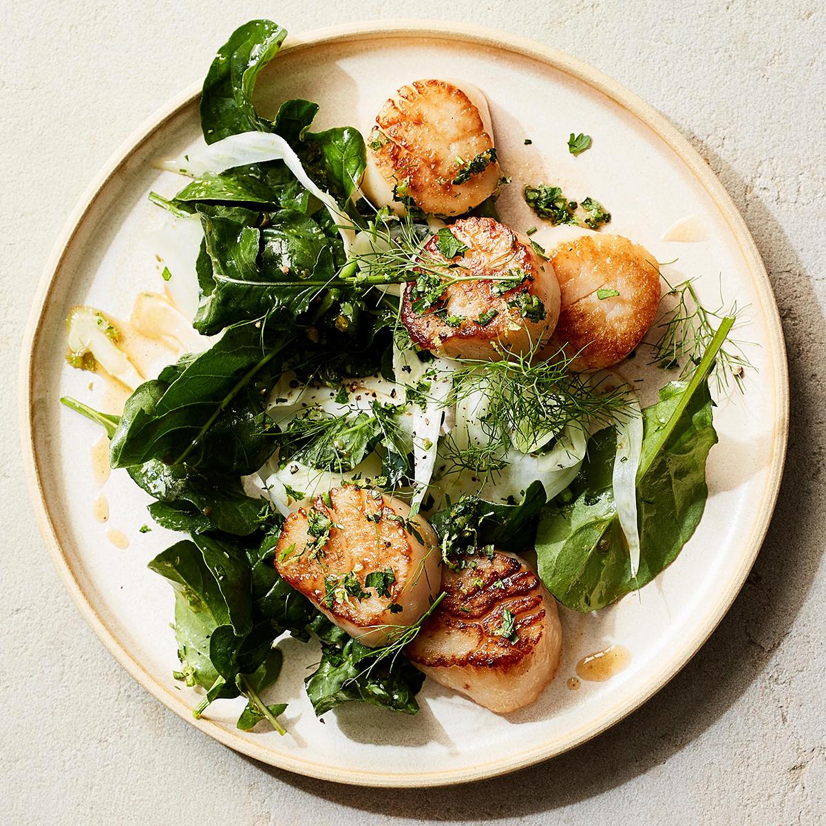 seared scallops with tarragon gremolata fennel arugula salad