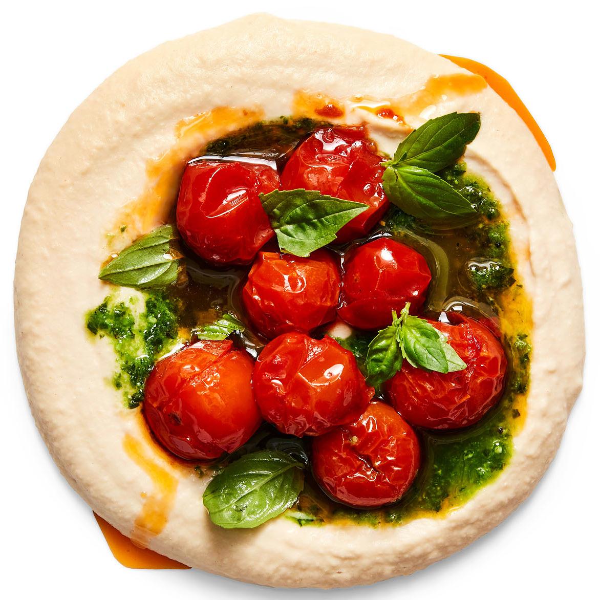 white bean hummus with tomatoes pesto