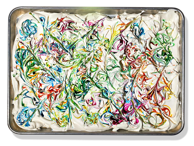 swirled cool whip with food dye