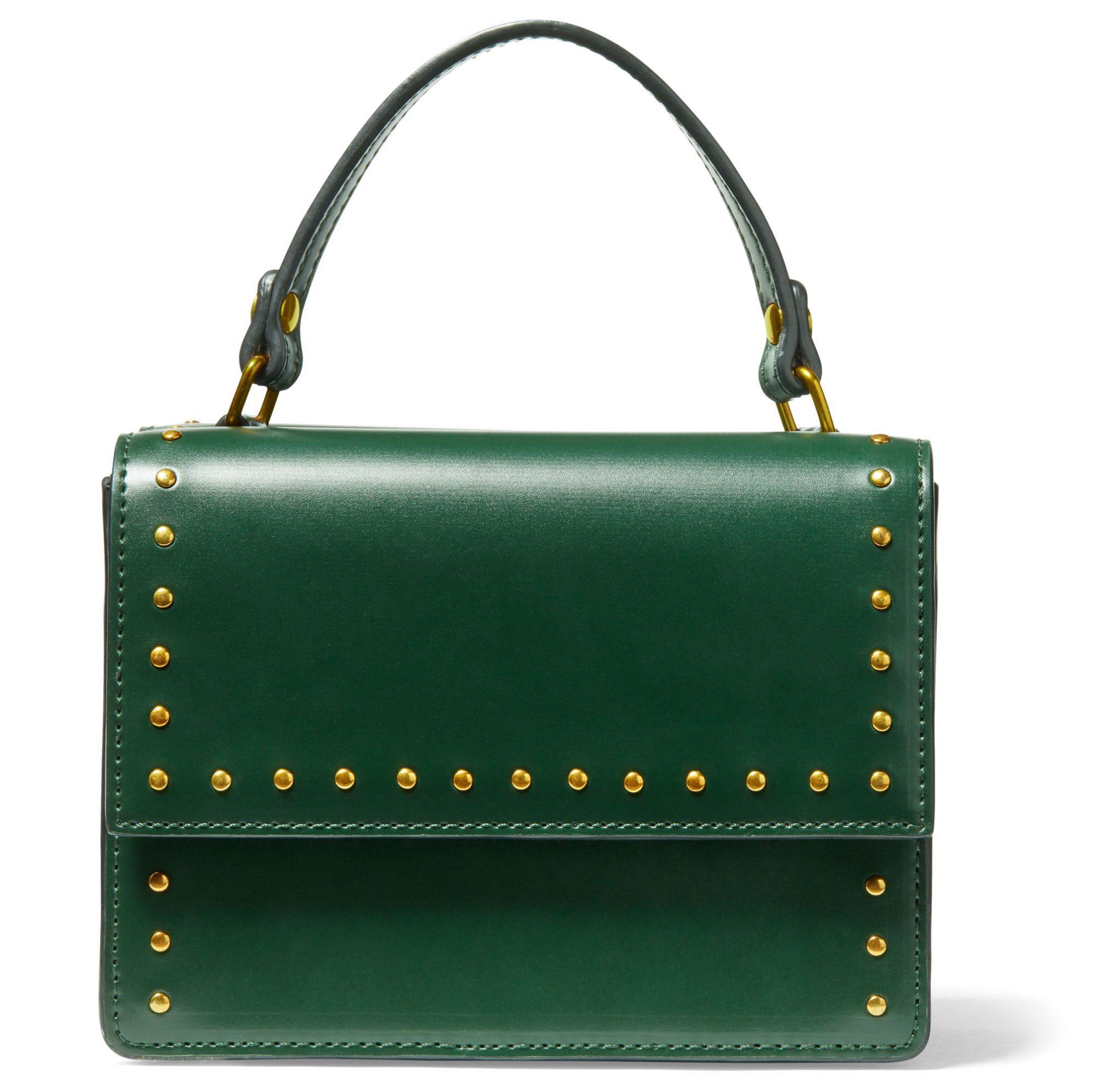 green studded vegan-leather Deux Lux James Messenger bag