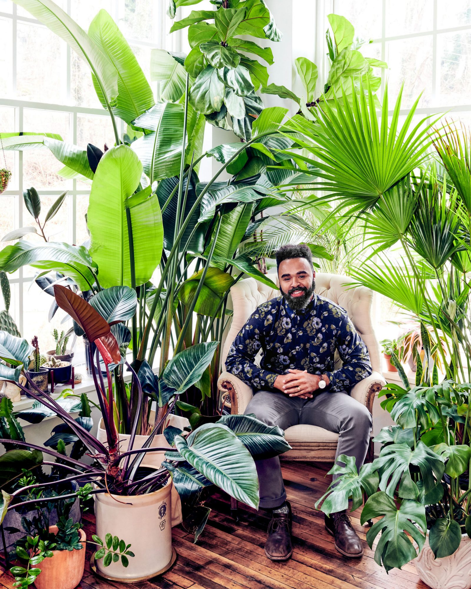 hilton carter surrounded by plants