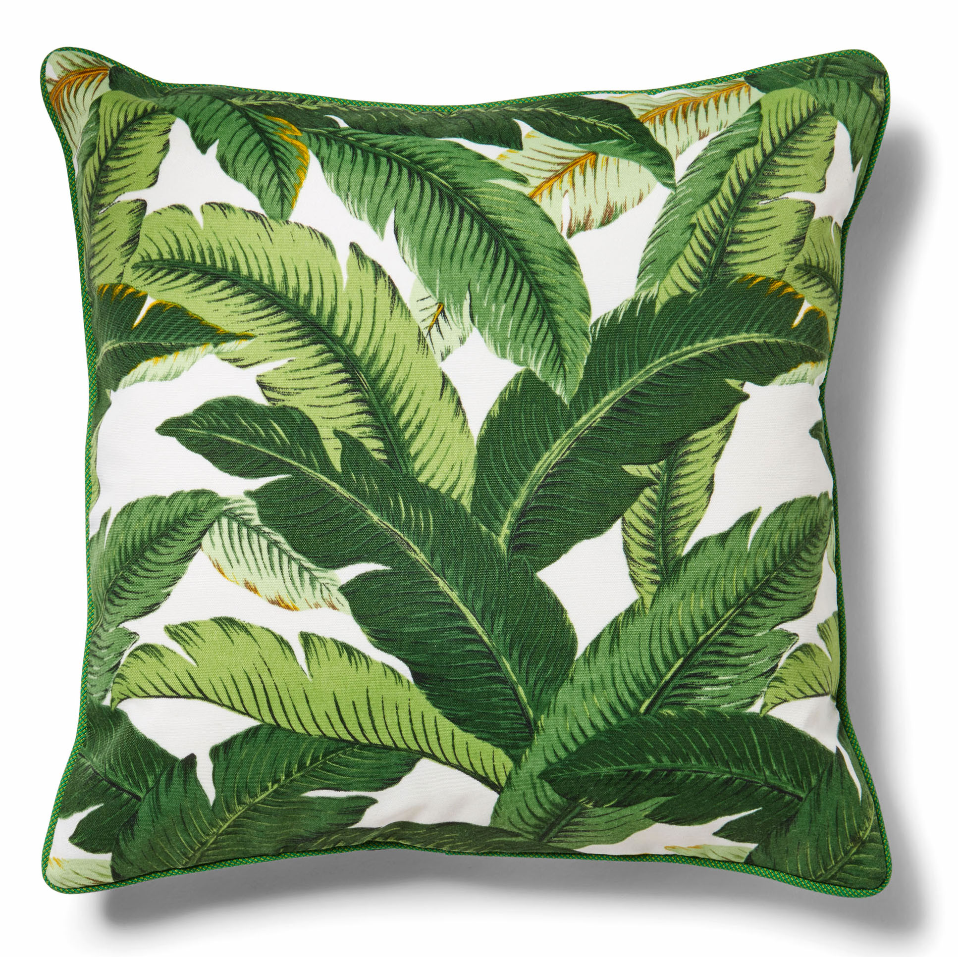 throw pillow with palm leaf pattern