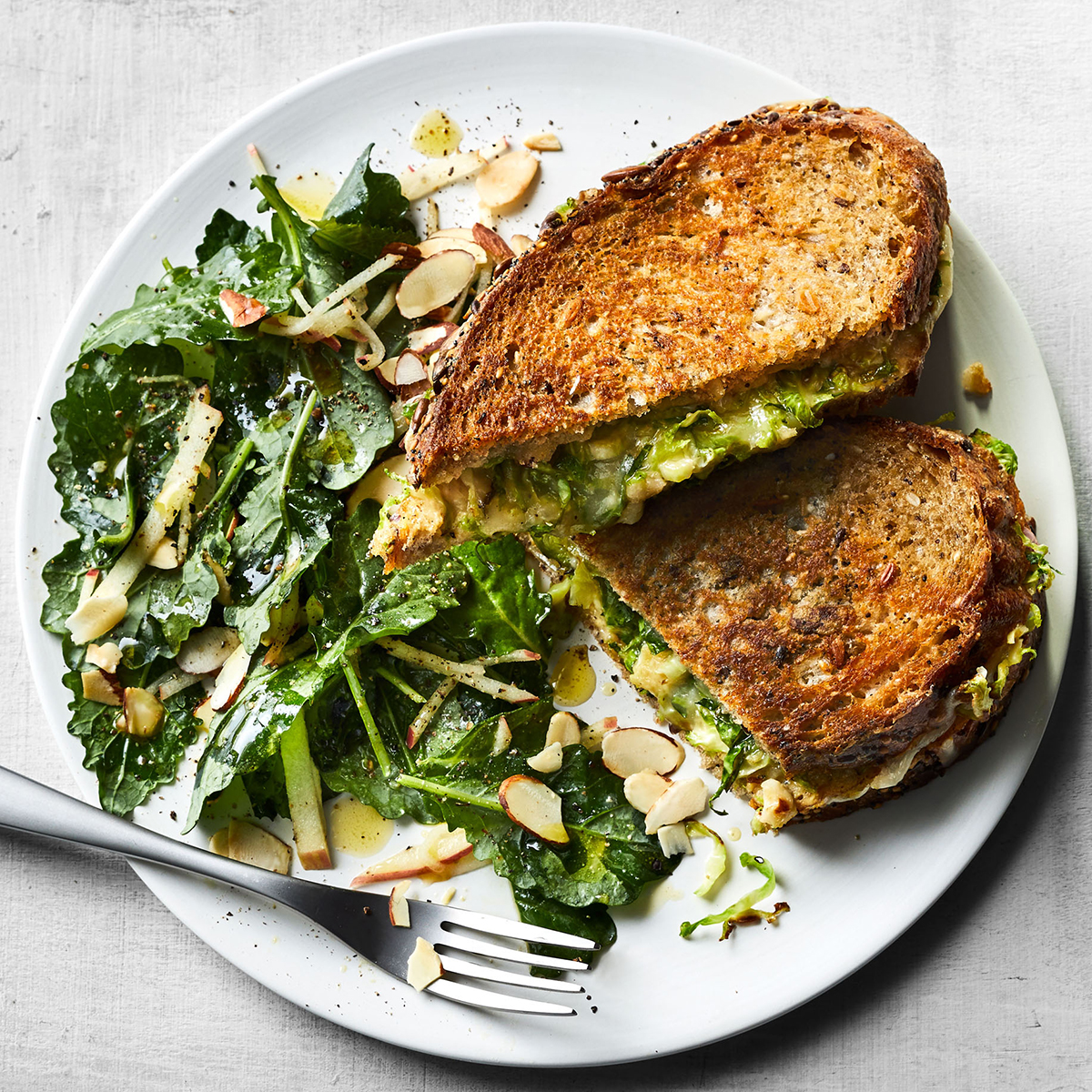 Brussels Sprouts Grilled Cheese with Baby Kale Salad