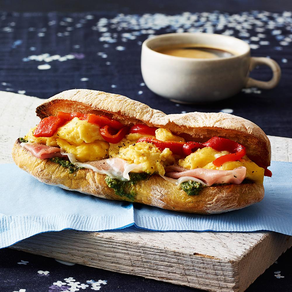 Pesto & Prosciutto Breakfast Sandwiches