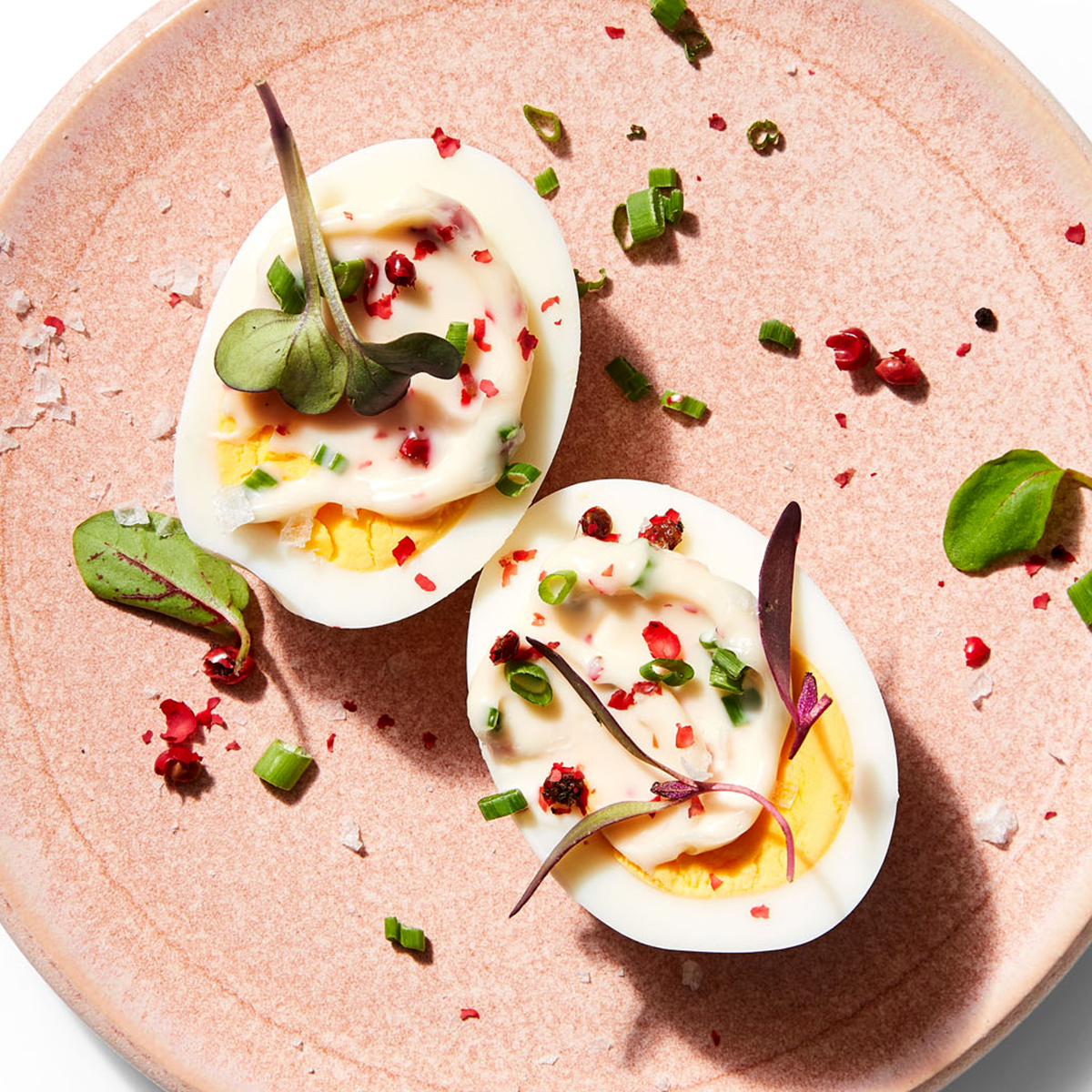 Deviled Eggs with Pink Peppercorn Mayo & Microherbs