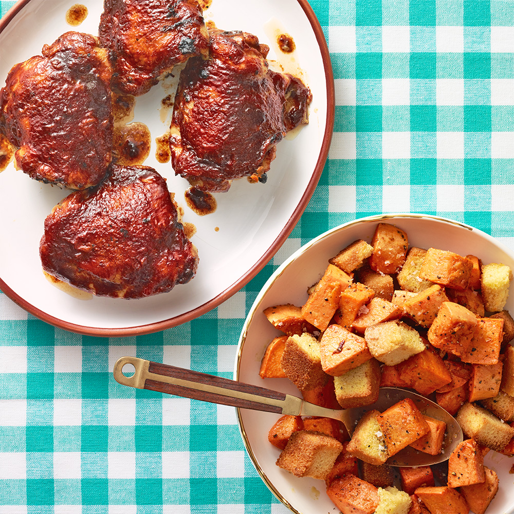 Barbecue Chicken with Sweet Potatoes & Cornbread Croutons