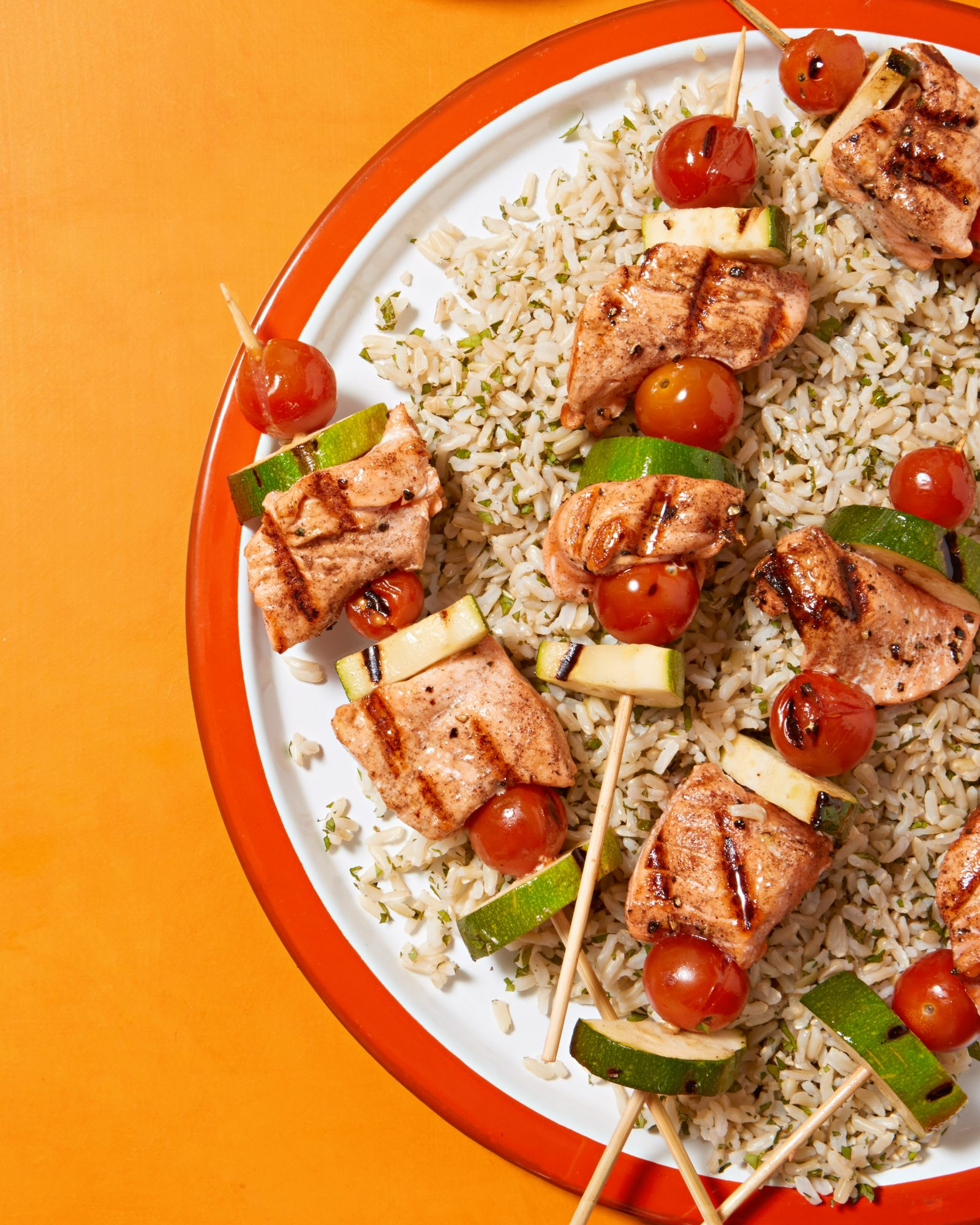 grilled salmon skewers minted rice